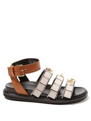 Marni Triple Strap Embellished Leather Sandals Brown Multi
