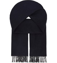 Fendi Wool And Cashmere Pocket Scarf Navy Blue