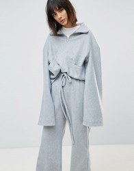 House Of Sunny Funnel Neck Jumper In Soft Fleece Co Ord Grey