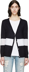 Band Of Outsiders Navy Silk Blend Cardigan
