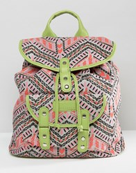 South Beach Geo Print Canvas Backpack With Lime Trim Multi