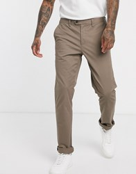 Ted Baker Slim Fit Chino Trousers In Tan Cream