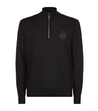 Billionaire Embroidered Logo Half Zip Sweater Male Black