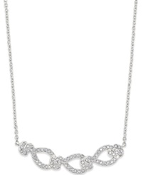 Eliot Danori Silver Tone Crystal Pave Frontal Necklace Clear