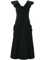 Carven Gathered Front Fit And Flare Dress Black