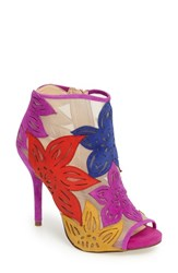 Jessica Simpson Women's Bliths Open Toe Bootie Bright Multi Suede