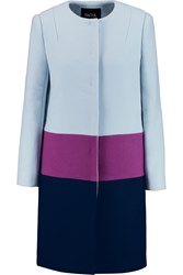 Raoul Viktor Color Block Wool Blend Coat Blue