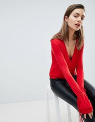 Ivyrevel Plunge Front Top With Cuff Detail Red