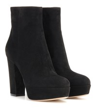 Gianvito Rossi Suede Platform Ankle Boots Black