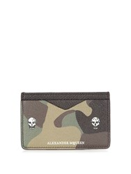 Alexander Mcqueen Camouflage Print Leather Cardholder Green Multi