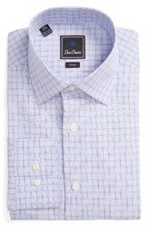 David Donahue Men's Big And Tall Trim Fit Check Dress Shirt Sky Purple