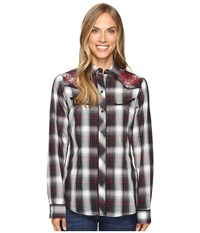 Roper 0664 Cream And Black Plaid With Lurex And Embroidery Shirt Black Women's Clothing