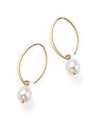 Bloomingdale's Simple Sweep Earrings With Cultured Freshwater Pearl Drops In 14K Yellow Gold 8Mm