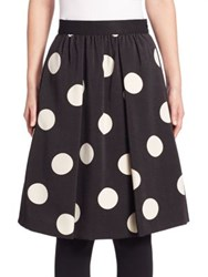 Akris Punto Wool Polka Dot Flare Skirt Black