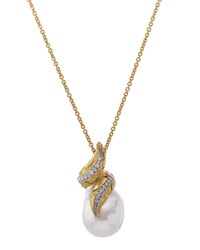 Michael Aram 18K Feather Wrap Necklace W Pearl And Diamonds