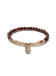 Topman Brown Beaded And Gold Look Feather Bracelet