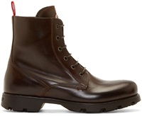 Moncler Brown Classic Lace Up Boots