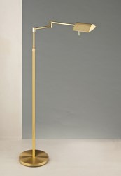 Holtkoetter 9602Led Two Tone Swing Arm Floor Lamp With 2 Independent Dimmers Silver