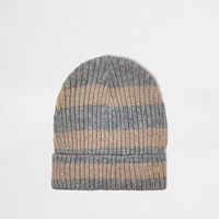River Island Womens Grey And Gold Lurex Stripe Beanie Hat