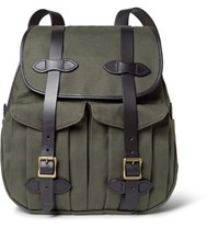 Filson Leather Trimmed Twill Backpack Green