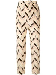 Marni Zig Zag Cropped Trousers Women Silk 40