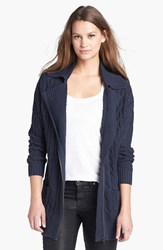 Petite Women's Caslon Cable Knit Zip Front Cardigan Heather Navy Dusk