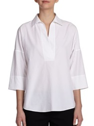 Akris Punto Essentials Cotton Kimono Blouse White Black