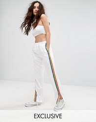 Reclaimed Vintage Inspired Wide Leg Trousers With Rainbow Stripe White