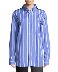 Vetements Long Sleeve Button Down Double Face Striped Shirt Blue Pattern