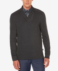 Perry Ellis Men's Almont Shawl Collar Sweater Charcoal Heather