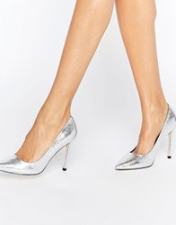 Asos Peru Pointed High Heels Silver Crackle