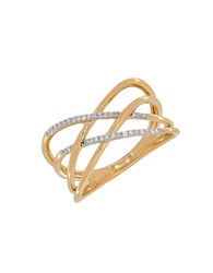 Lord And Taylor Andin 14K Gold Diamond Pave Interwoven Ring 0.10 Tcw Yellow Gold
