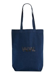 Topman Blue Wood Wood Navy Tote Bag