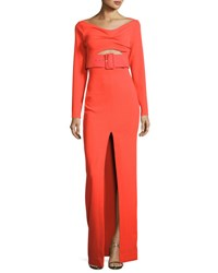 Solace London Adalene Long Sleeve Belted Maxi Dress Red