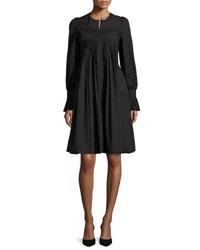 Co Long Sleeve Pleated Shirtdress Black