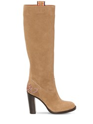 Etro 95Mm Suede Tall Boots Beige