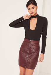 Missguided Quilted Zip Faux Leather Mini Skirt Burgundy Nude