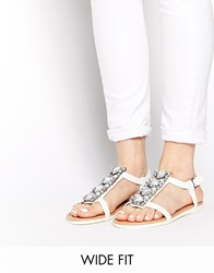 New Look Wide Fit Fancy Embellished Flat Sandals White