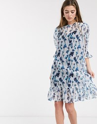 Lost Ink Midi Smock Dress With Volume Sleeves And Peplum Hem In Smudge Floral Print Blue