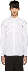 Comme Des Garcons White Studded Ruffle Shirt