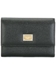 Dolce And Gabbana Dauphine Leather Flap Wallet Black