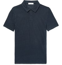 Sandro Slim Fit Linen Polo Shirt Navy