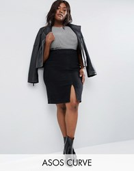 Asos Curve Denim Pencil Skirt In Washed Black Washed Black