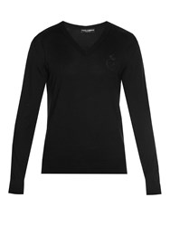 Dolce And Gabbana Crown Bee Embroidered V Neck Sweater Black