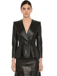 Alexander Mcqueen Flared Nappa Leather Jacket Black