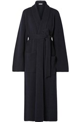 The Row Tappi Ribbed Cashmere Cardigan Navy