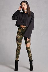 Forever 21 Distressed Camo Skinny Jeans Olive