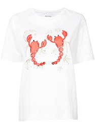 Muveil Embroidered Sequined T Shirt White