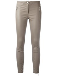 Arma Skinny Leather Trousers Brown