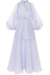 Beaufille Europa Silk Organza Maxi Dress Lilac